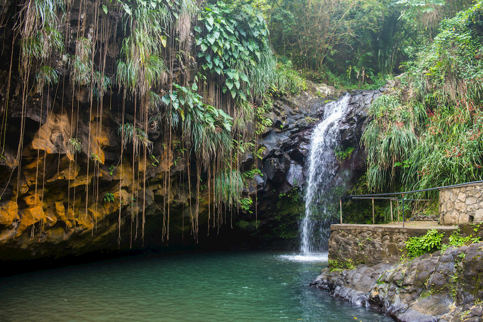 Woman looking at the Annandale Falls, Grenada, Windward Islands, West Indies, Caribbean, Central America