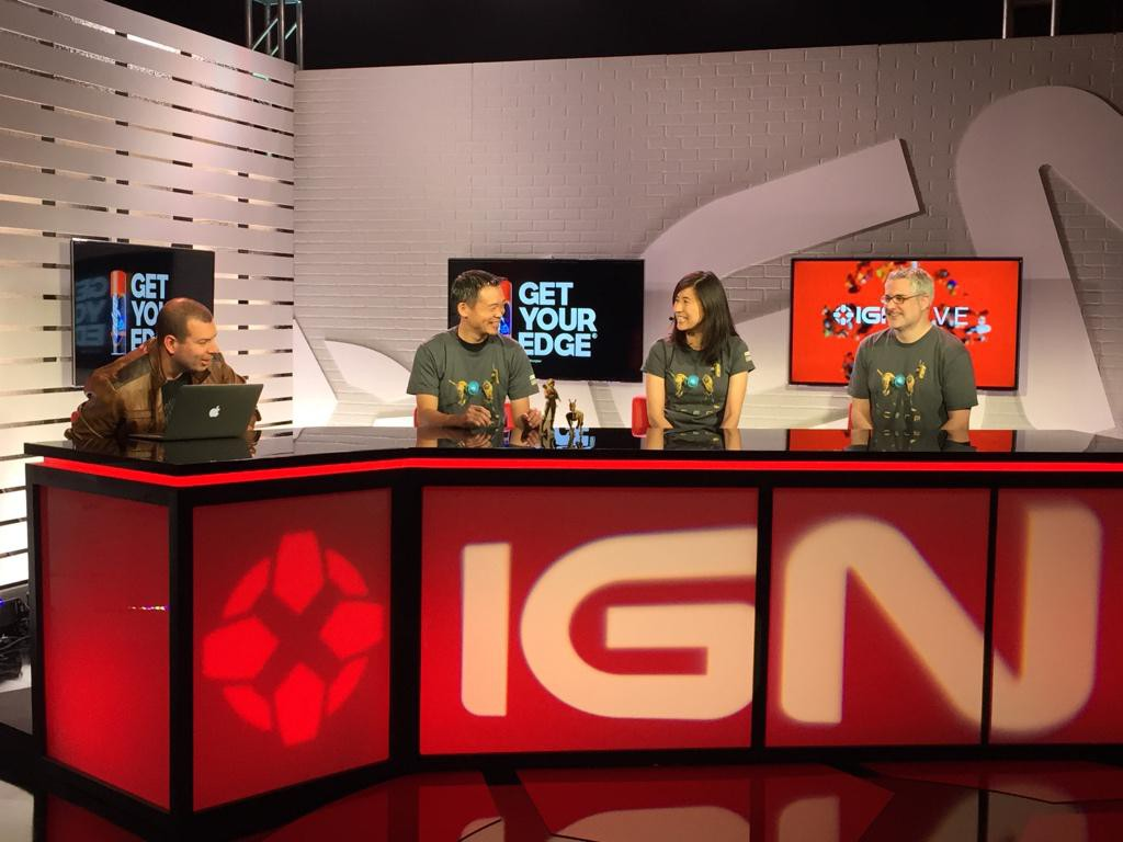 The ReCore crew chatting with IGN at their booth on the show floor.